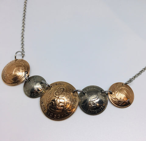 *Re-minted NZ Multicoin Necklace featuring Halfpenny - NEW!!