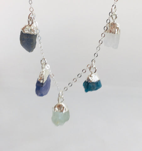NEW!! No Division Mini Raw Gemstones - Silver Five Stone Necklace with NZ inspired colours