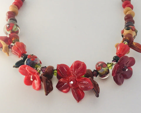 GLASS ART - Sculpted Garden Necklace - Autumn Reds Garden Necklace