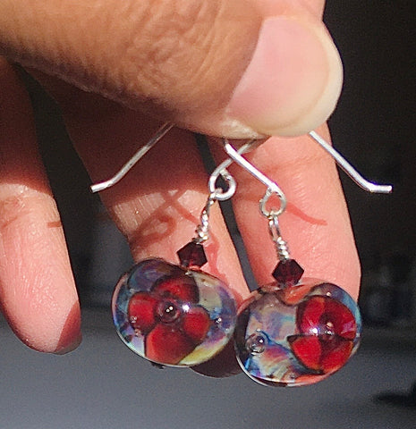 Glass Art: Large encased floral earrings - reds/multicolour