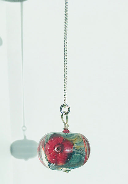 Glass Art -  Medium Encased Floral Pendant - Reds/Multicolour