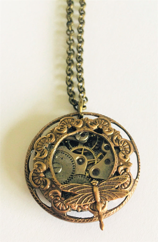 Timepiece Filigree Porthole Pendant with Dragonfly - Brass or Silver