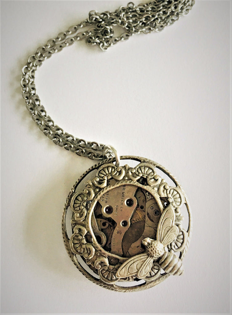 Timepiece Filigree Porthole Pendant with Bee - Silver