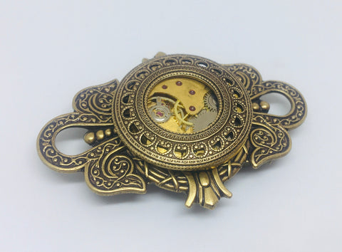 NEW!! Timepiece Large Crest Unisex Brooch - Brass