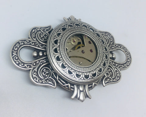 NEW!! Timepiece  Large Crest Unisex Brooch - Silver
