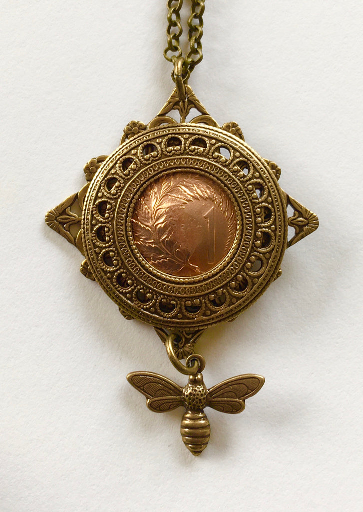 *Re-minted One cent filigree drop bee pendant