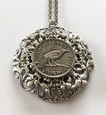 Bestseller!  Re-minted Sixpence Layered Floral Circle Pendant