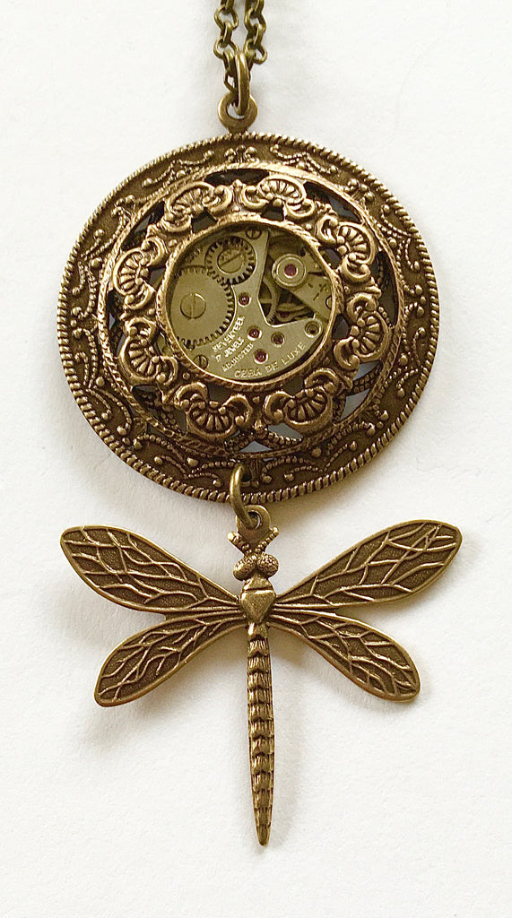 Timepiece Layered Filigree Drop Dragonfly Pendant - Brass or Silver