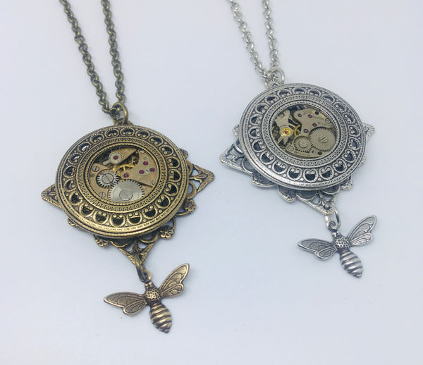 Timepiece filigree drop bee pendant - silver