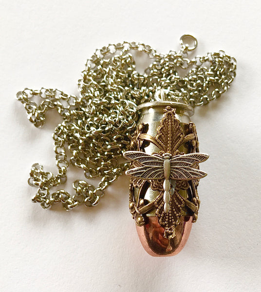 Large mixed metal filigree copperhead pendant - dragonfly or bee
