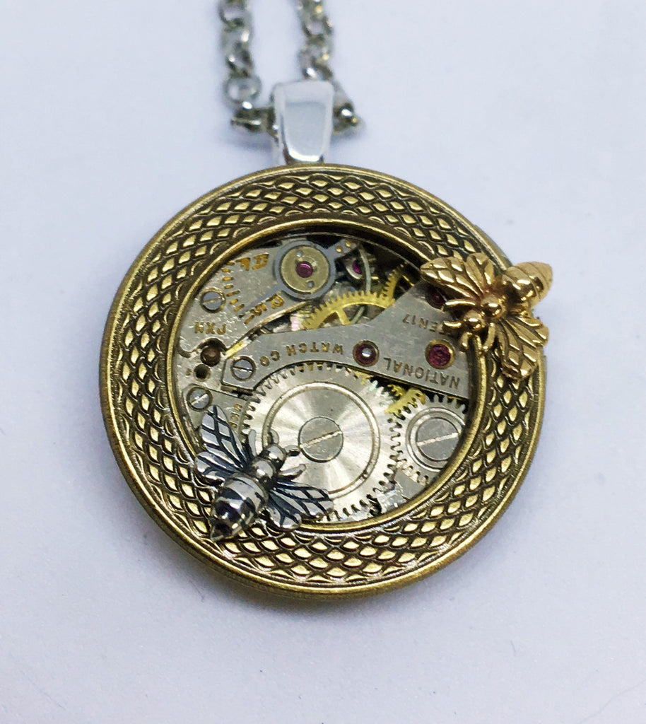 Timepiece Mixed Metal Porthole Pendant with Bees