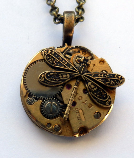 Steampunk Timepieces: Petite Brass Pendant with Dragonfly or Bee