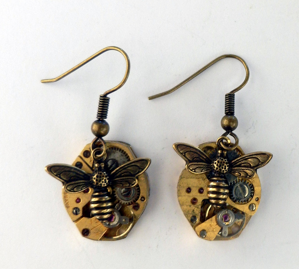 *SALE - Steampunk Timepieces: Brass Earrings with Dragonflies or Bees