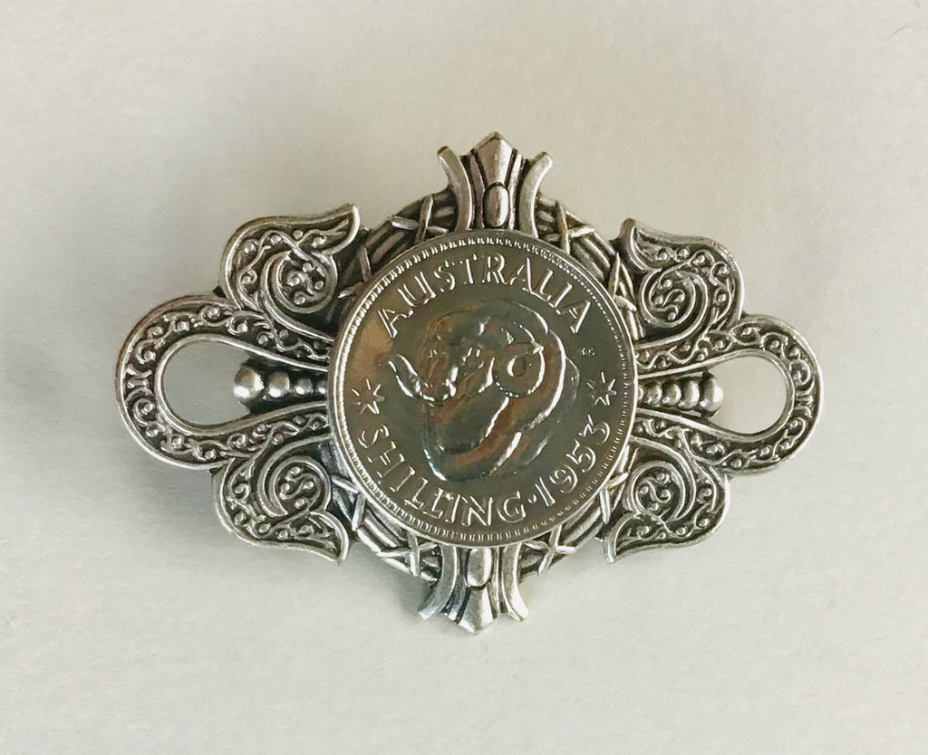 Re-minted AUSTRALIAN Large Crest Shilling Unisex Brooch