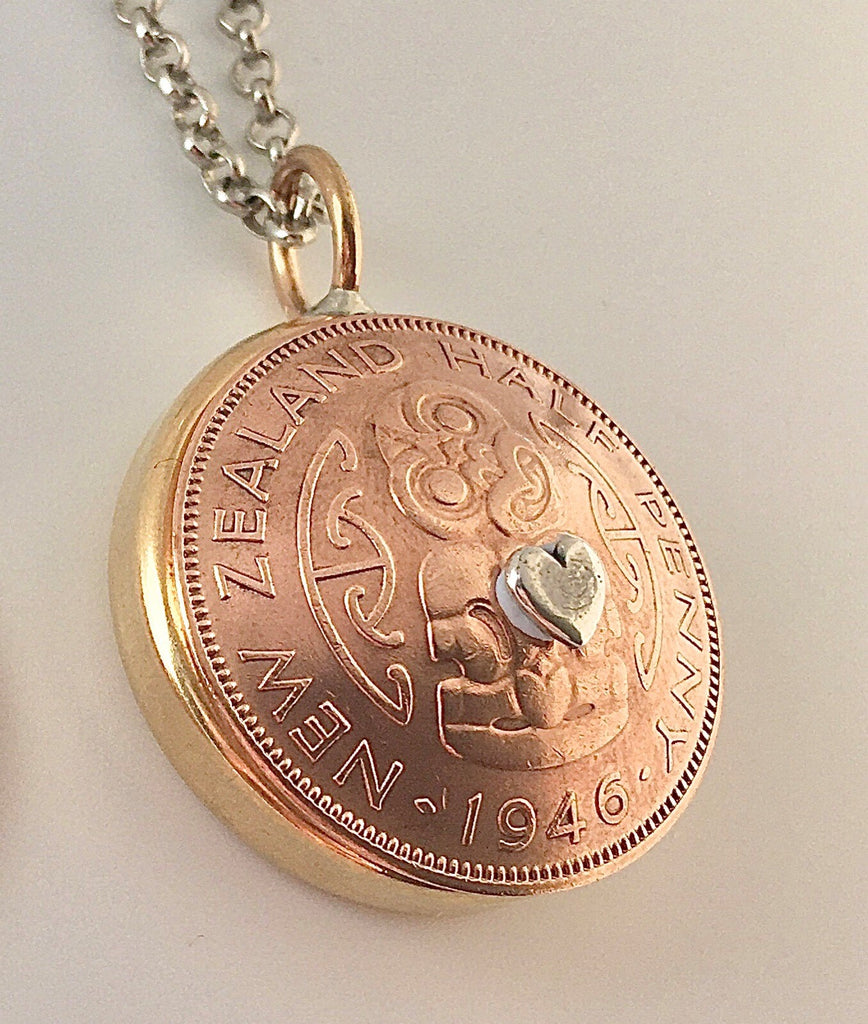 Bestseller! *RE-MINTED: Domed Bezel Mixed Metal Pendant - Half Penny