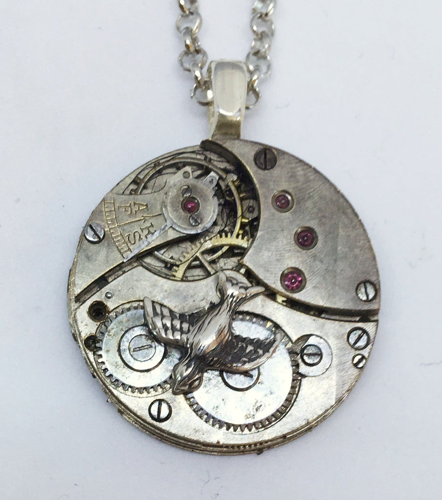 *SALE - STEAMPUNK TIMEPIECES: Small Silver Pendant with Dove