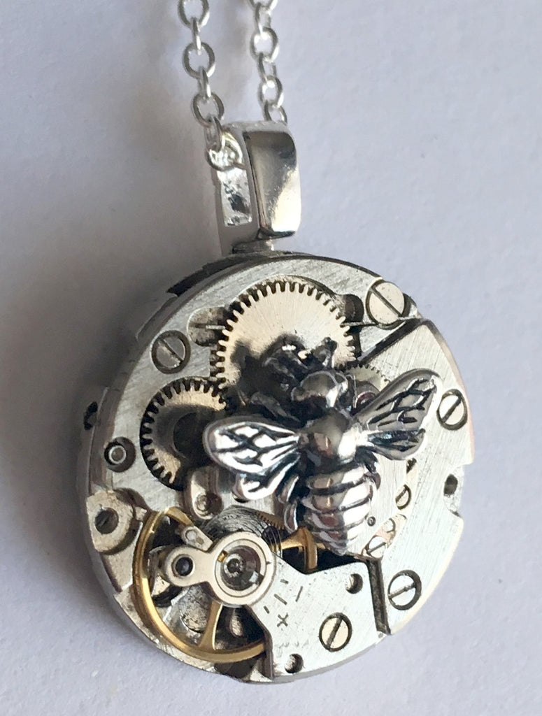 Timepiece small sterling silver bee pendant