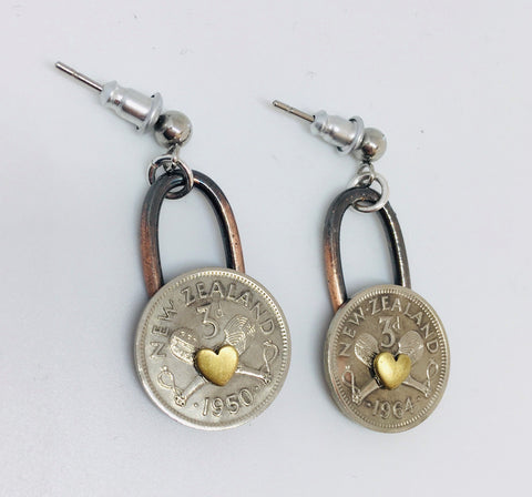 *Re-minted Coin Earrings - Threepence with Hearts NEW!!