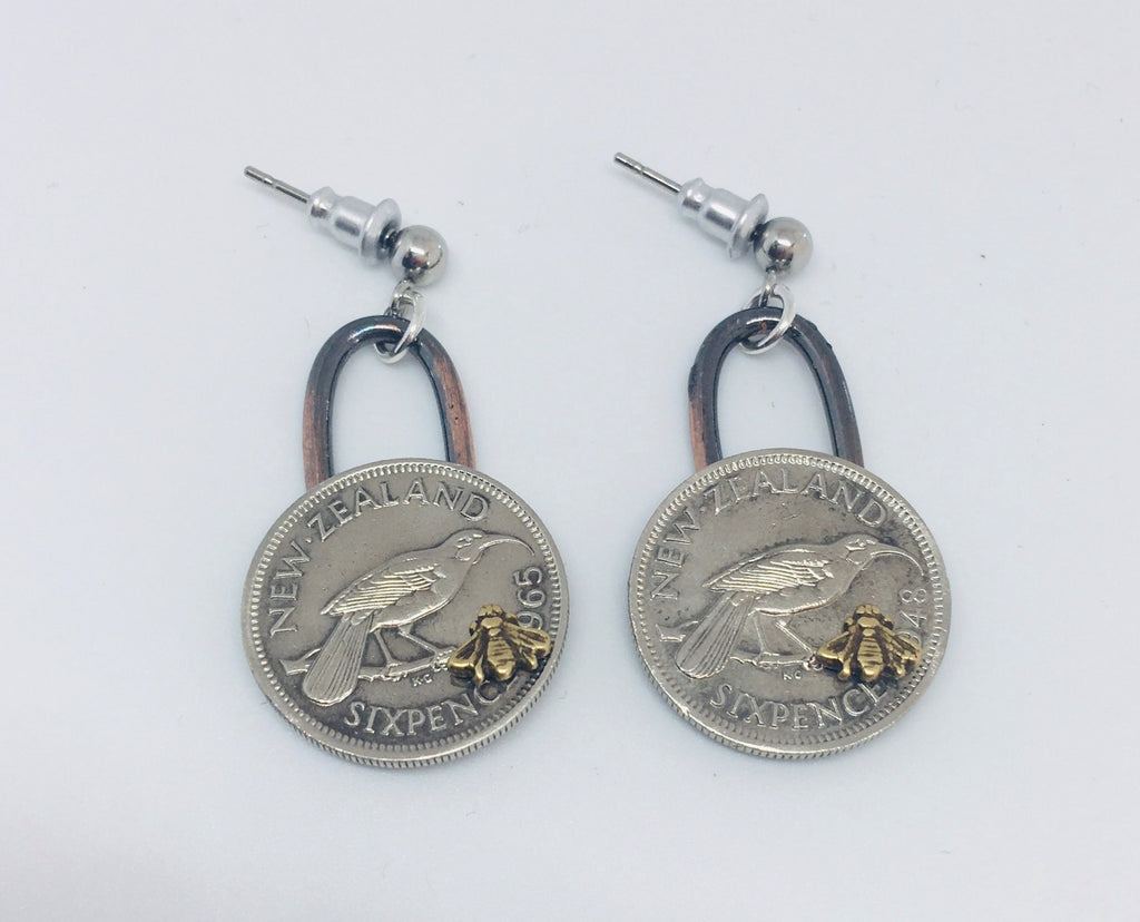 *Re-minted Coin Earrings - Sixpence with Bees NEW!!