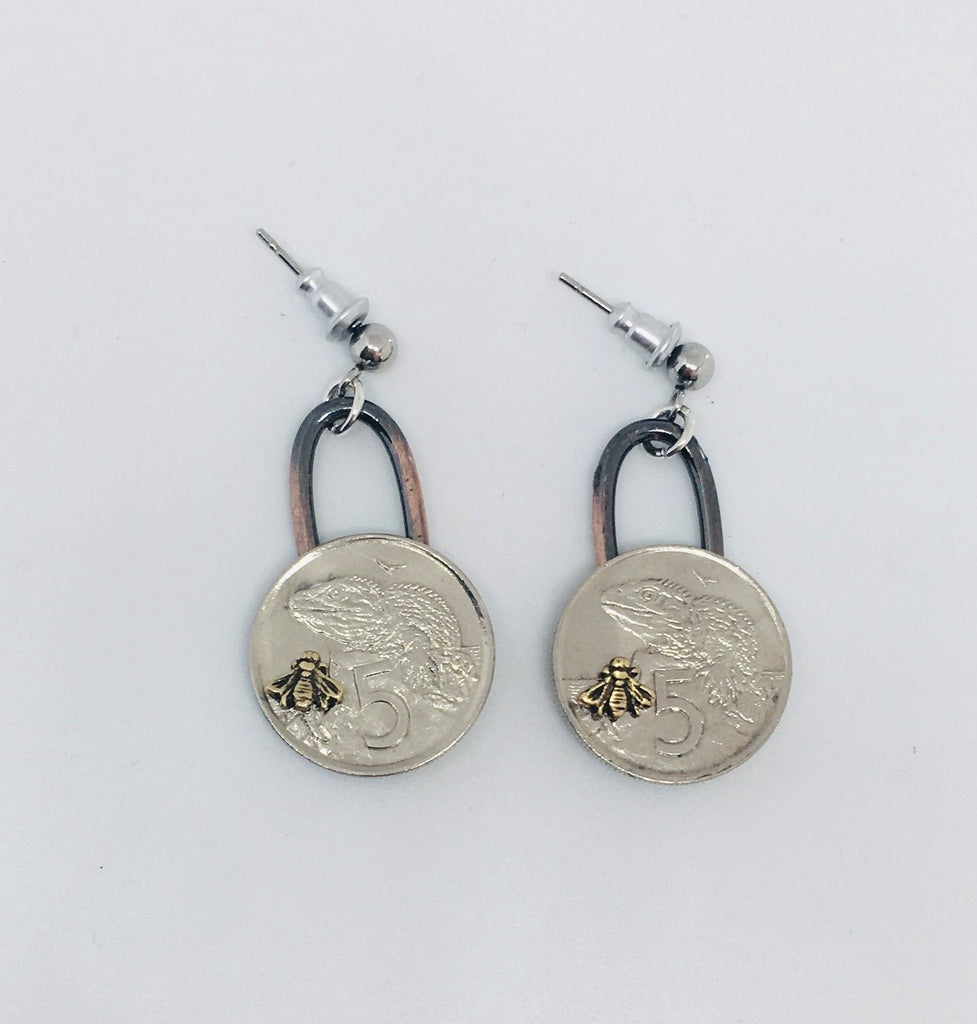 *Re-minted Coin Earrings - Five Cents with Bees NEW!!