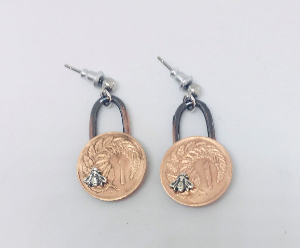 *Re-minted Coin Earrings - One Cent with Bees