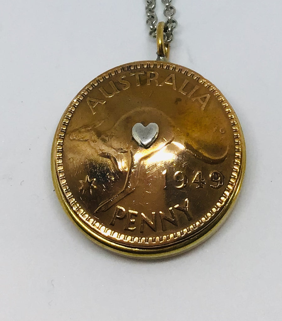 Re-minted AUSTRALIAN Domed Bezel Mixed Metal Pendant - One Penny