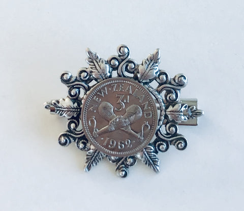 *SALE - Re-minted Threepence Vine Leaf Frame Brooch