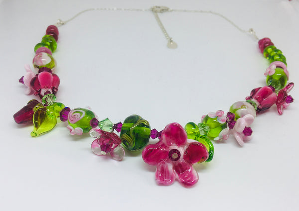 "GLASS ART - Sculpted Garden Necklace - ""Pinks and Greens"" Garden Necklace"