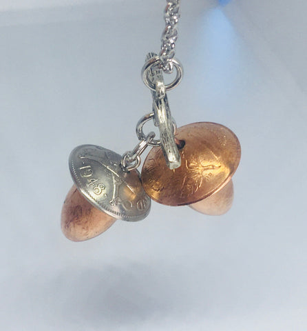 Vintage Eclectic Coin/Bullet Acorn Duo Necklace - Mixed Metal - NEW!!
