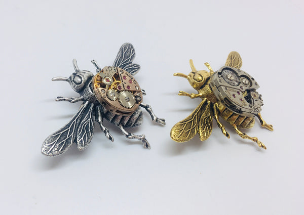 Bestseller! Timepiece Large Golden Honeybee Brooch