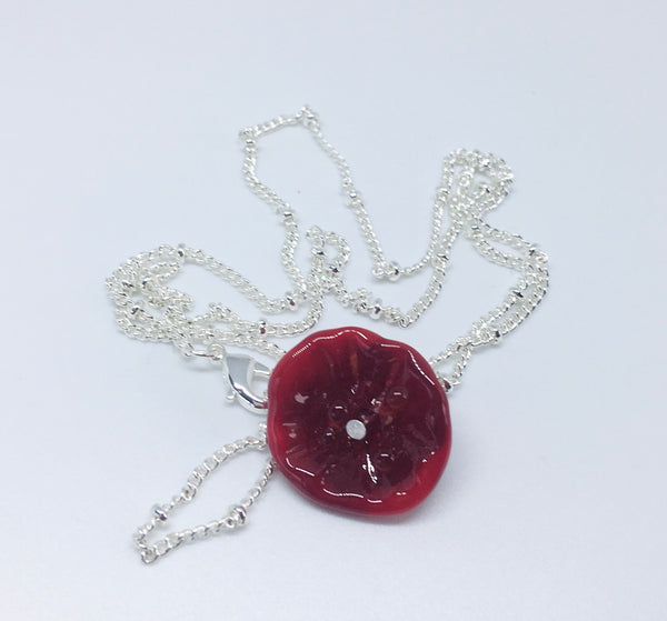 NEW!! Glass Art - Lampwork Red Poppy Necklace