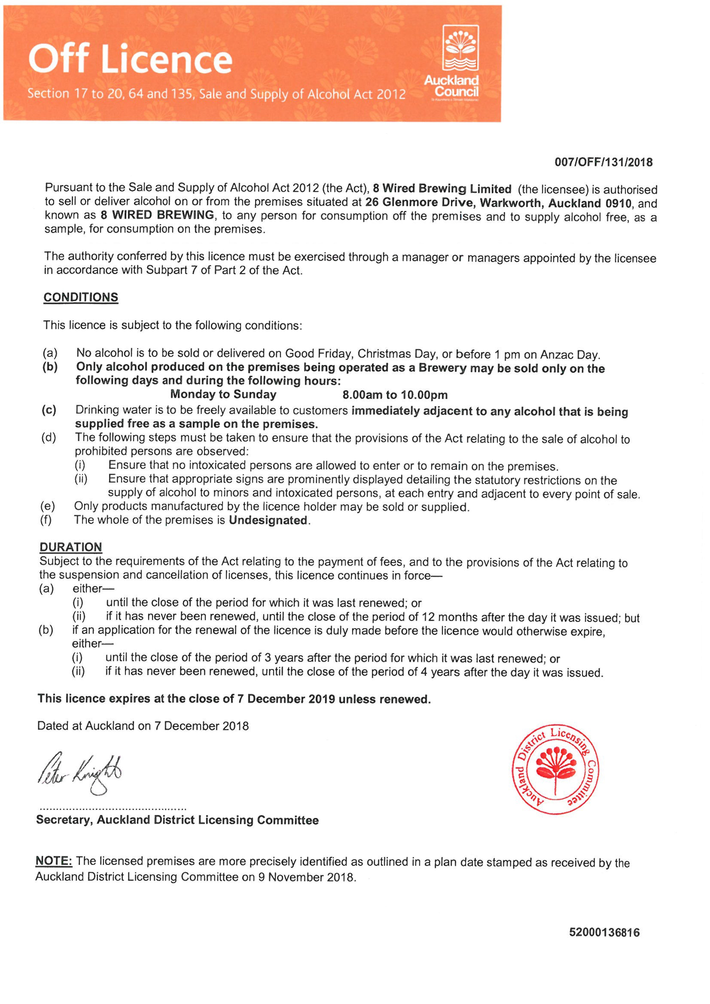 8 Wired Liquor Licence