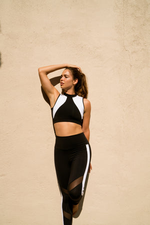 Shama Jade Equinox Sports Bra: Black with White - Shama Jade | Women's Luxury Yoga Jumpsuits and Activewear