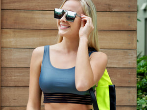 Shama Jade Malibu Sports Bra: Shiny Grey
