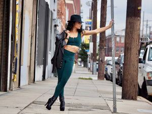 Shama Jade Avalon Moto Legging: Army Green