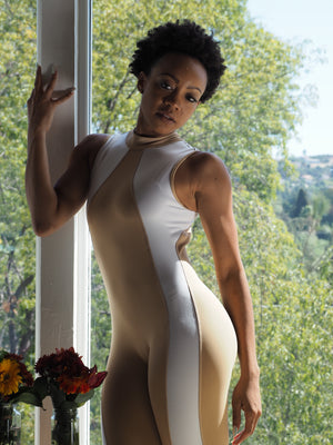 Shama Jade Equinox Jumpsuit: Nude with White