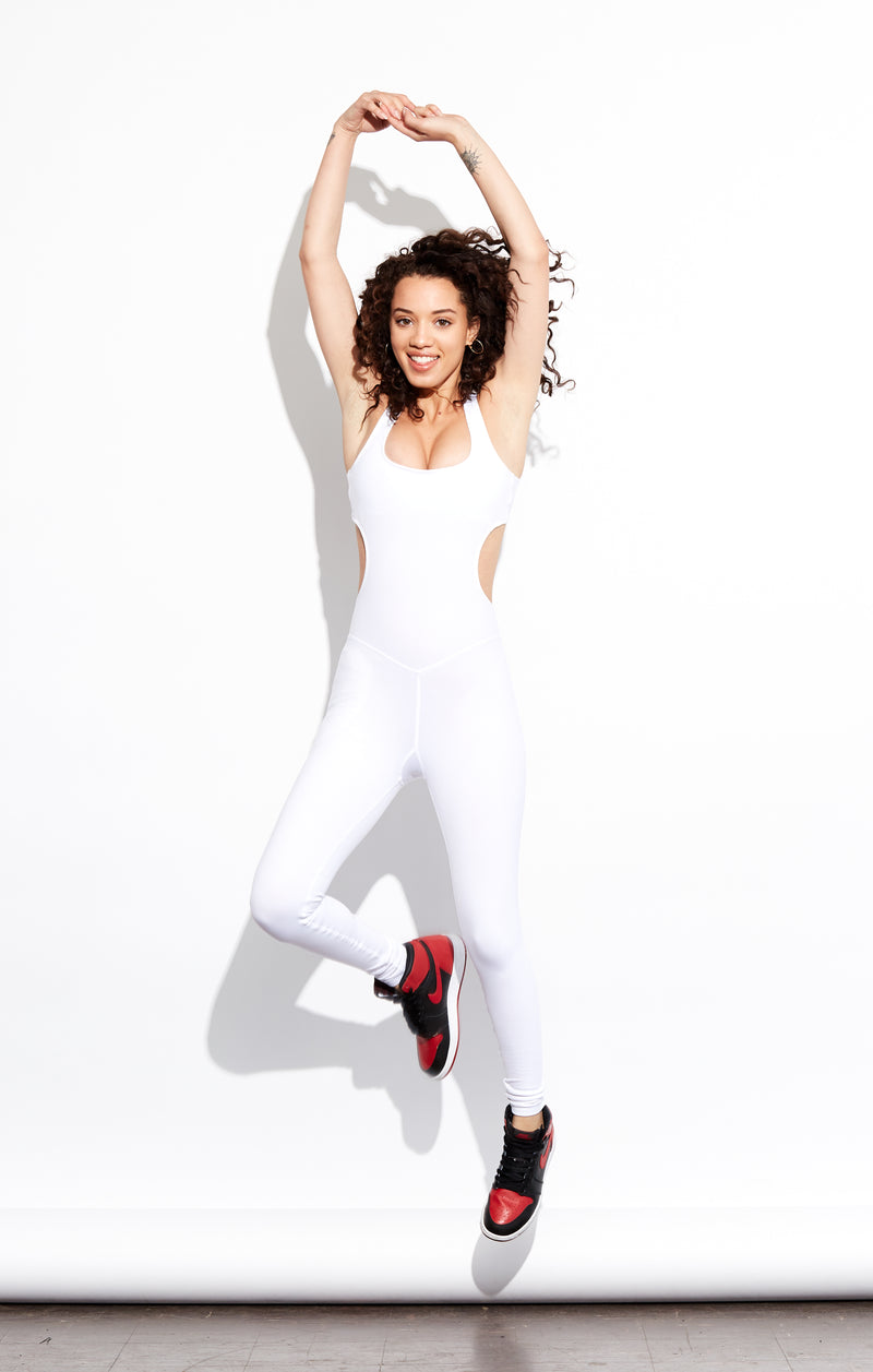 Shama Jade Evoke Jumpsuit: White - Shama Jade | Women's Luxury Yoga Jumpsuits and Activewear