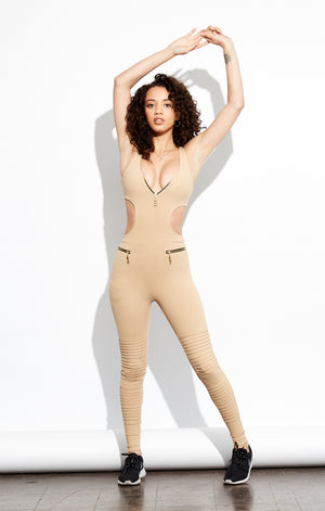 Shama Jade Avalon Moto Jumpsuit: Nude - Shama Jade | Women's Luxury Yoga Jumpsuits and Activewear