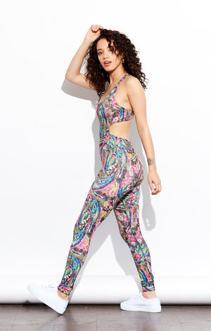 Shama Jade Evoke Jumpsuit: Tropical - Shama Jade | Women's Luxury Yoga Jumpsuits and Activewear