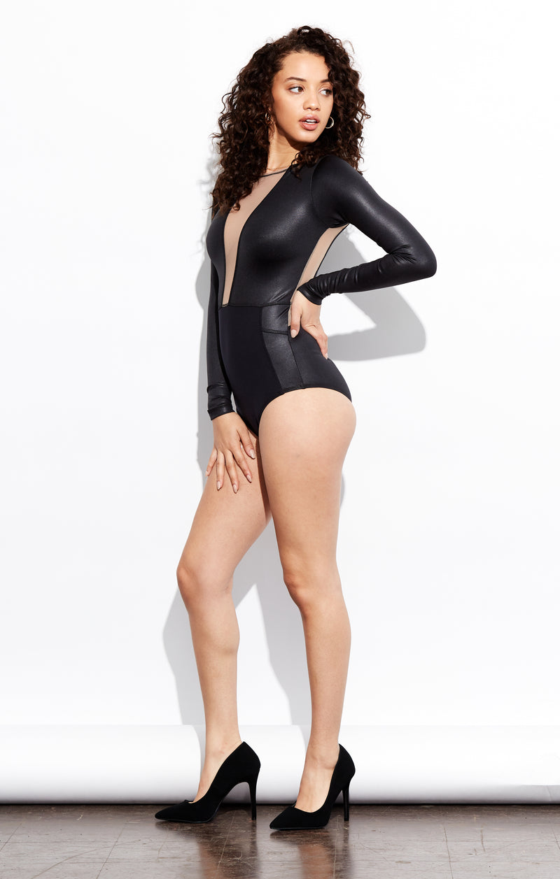 Shama Jade Nightlife bodysuit: Black with Nude Sheer - Shama Jade | Women's Luxury Yoga Jumpsuits and Activewear