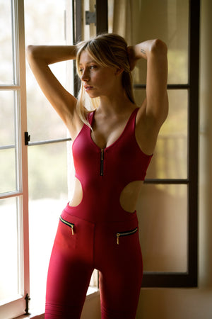 AVALON MOTO JUMPSUIT: RED