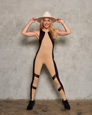 EQUINOX JUMPSUIT: NUDE WITH BLACK