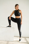 Shama Jade Equinox Sports Bra: Black with Shiny Black - Shama Jade | Women's Luxury Yoga Jumpsuits and Activewear