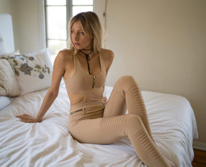 shop sport and yoga jumpsuit in nude
