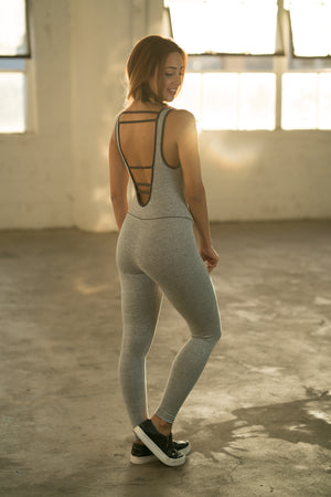 Shama Jade Classic Jumpsuit: Grey - Shama Jade | Women's Luxury Yoga Jumpsuits and Activewear