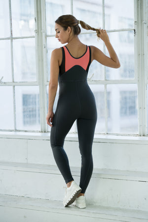Shama Jade Divergent Jumpsuit: Grey, White & Coral - Shama Jade | Women's Luxury Yoga Jumpsuits and Activewear