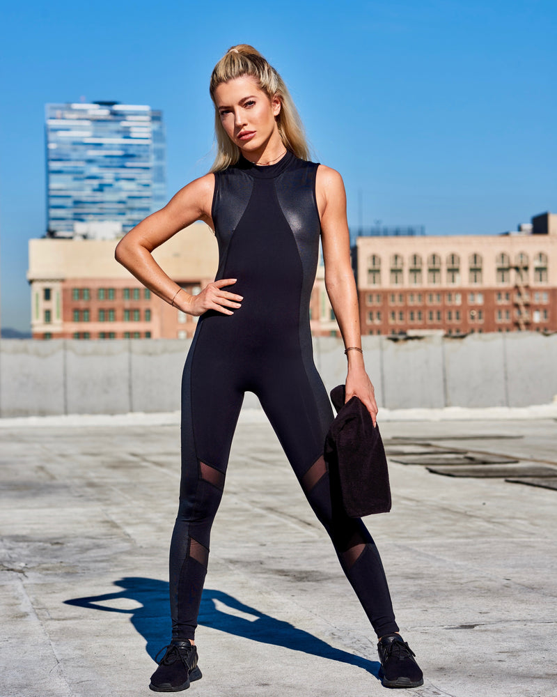 EQUINOX JUMPSUIT: BLACK WITH SHINY BLACK