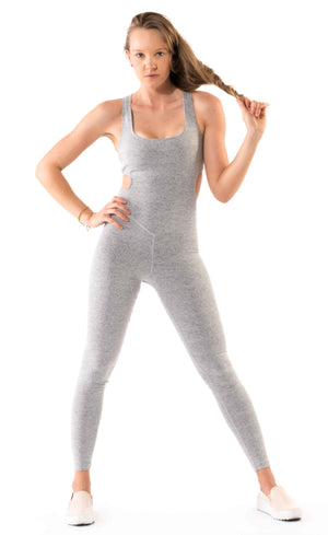 Shama Jade Evoke Jumpsuit: Grey - Shama Jade | Women's Luxury Yoga Jumpsuits and Activewear