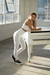 Shama Jade 80's Legging: White - Shama Jade | Women's Luxury Yoga Jumpsuits and Activewear