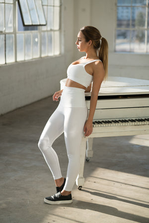 Shama Jade 80's Sports Bra: White - Shama Jade | Women's Luxury Yoga Jumpsuits and Activewear